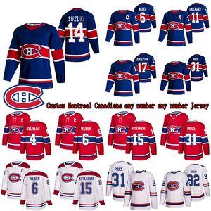 Özel Montreal Canadiens Jersey 14 Nick Suzuki 6 Shea Weber 31 Carey Fiyat 11 Gallagher 15 Kotkaniemi Hokey Formaları