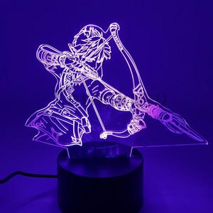 Зельда Дыхание диких действий Рисунок 3D Ночные огни Светодиодные Изменение аниме Link Zelda 3D Освещение Игрушка FippUrine C0220