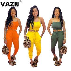Kadın Eşofmanlar Vazn Genç Casual 2021 Yaz Seksi Lady 3 Renkler Katı 2-piece Uzun Set Spagetti Kayışı Günde Spor Harem Pantolon Tops