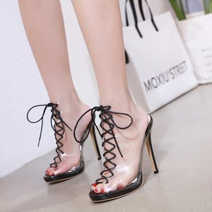 Clear Heels Sandals Straps Fashion Womens Shoes 2021 Suit Female Beige Lace Up Luxury Plastic Comfort Girls Black Stiletto New H
