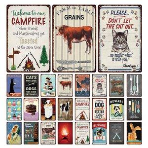 Добро пожаловать в сельскохозяйственный костер знать о собаках Ферма Предупреждение Ретро олово знаки металлические олова тарелка знак искусства Плакат стены декор для бара