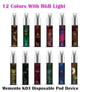 Authentic Memento K03 Kit de dispositivo de vástago desechable con luz RGB 850mAh batería 1500 soplo de cartucho precollado Vape Pen Genuine vs Bar Plus