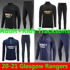 Glasgow Rangers Adult+Kids Tracksuit Survetement 2020 2021 DEFOE HAGI MORELOS KENT Tracksuits Soccer Jerseys training suit Football Shirts