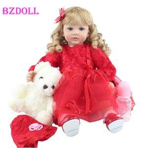 Bzdoll 60 cm suave silicona renacido rubio pelo largo niño muñeca muñeca viny princesa boneca encantadora niña regalo de cumpleaños jugar casa juguete l0308