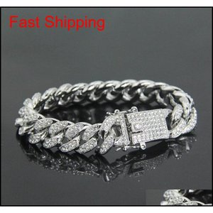 Mens Hip Hop Gold Bracelets Jewelry Iced Out Chain Bracelets Rose Gold Silver Miami Cuban Li qyleXH luckyhat