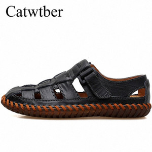 Catwtber New Mens Sandals 2018 Hot Leather Handmade Summer Shoes Beach Casual Shoes Outdoor Sandals For Man Non Slip Male Beach G8HP#