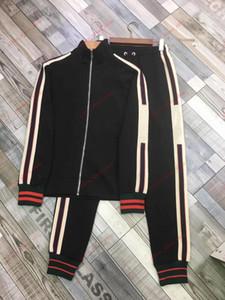 Gucci suit men et automne NOUVEAU Veste à rayures pour hommes Pantalon en cours d'exécution Superbateur Sweat-Absorbant Sport Sports Sports Sports en plein air Vêtements de sport