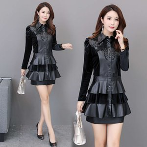 Large PU Leather Patchwork cake skirt autumn dress slim women's windbreaker coat medium length