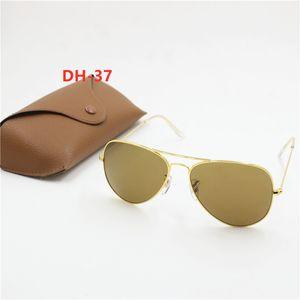 2021 hot new high quality fashion retro goggles metal frame 62mm Black HD glass lens UV400 protection brown box
