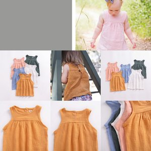 ing INS Linen Girls Baby Girls Vests Solid Color Baby Tops Sleeveless Kids Outfits Breathable Kids Clothes 5 Colors YW3067Q GHDN