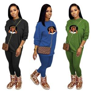 SH7236 kadın eşofman uzun kollu tops tees + tozluk pantolon iki parçalı takım elbise giyim bayanlar rahat sportwear kıyafetler s-xxl