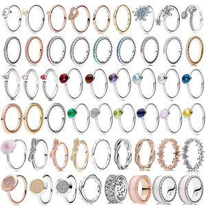 Обручальные кольца PDB JZ 1 оригинальный бренд 100% 925 стерлингового серебра с сверкающим логотипом дизайн Солнце цветок Ретро Multi Wrap