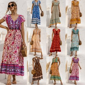 fashion new spring and summer short sleeve button tie positioning flower stitching long skirt v-neck Floral Boho Party Maxi Dresses