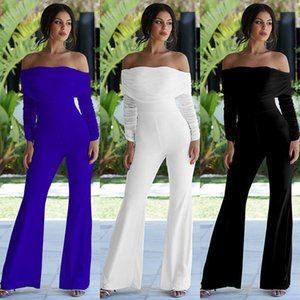 Solid pleated one-piece pants with shoulder and trumpet long sleeve dress for dinner party