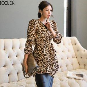 ICCLEK Sonbahar Yeni Stil Kore Mizaç V Yaka Çift Göğüslü Dantel-Up Bel Leopar Baskı Profesyonel Blazer Ceket