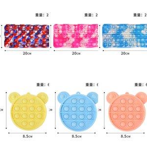20Cm Rainbow Tie Dye CHildren's Pioneer Bubble Fidget Toys Key Chain Bags Puzzle Poppers Autism Stress Relief Decompression Toy Wallet Game G8277P3