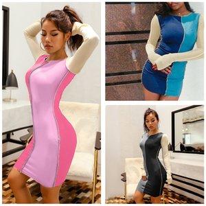 Популярные взрыва женские модные платья O-образным вырезом цвета сопоставление блока тонкий мини-платья новая осень повседневная с длинным рукавом Bodycon платья