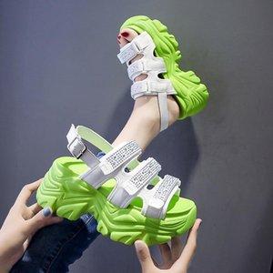 Сандалии Rimocy Bling Crystal Crunky платформа женщины 2021 толщинные дно клинья каблуки женщина задний ремень белый спорт сандалии