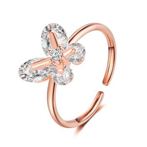 French temperament butterfly rings Korean super flash crystal butterfly net red ring ins wind adjustable ring opening rose golden sliver
