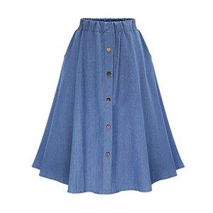 Skirts Loose Denim Spring Autumn Casual Dark Light Blue Elastic Waist Button Knee-Length Pleated Skirt For Women Free