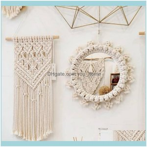 Mirrors Décor Home & Gardenmirrors Handmade Creative Round Tapestry Makeup Mirror Wall-Mounted Living Room Bathroom Bedroom Hanging Decorati