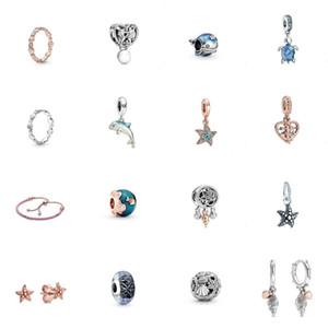 2020 Verão 925 Ondas de Oceano Prata Peixe Azul Vidro Tartaruga Mar Dangle Charme Bracelete Brincos Rosa Anel Colar de Couro