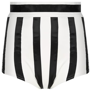 Women's Shorts Women Fashion PU Leather Striped Pants Back Invisible Zipper High Waist Booty Skinny For Nightclub Music Festival