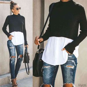 봄 가을 womens 디자이너 패널 스웨터 패션 크루 목 탑스 버튼 여성 섹시한 풀 오버 니트 의류