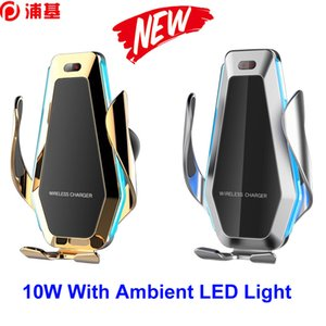 2Pcs Lot Fashion 10w Car Qi Wireless Charger For iPhone XS X 8 with Ambient Flowable LED Light Car Phone Holder For Samsung S9 S10 Huawei
