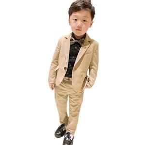 Flower Boys Suits for Wedding School Kids Prom Party Formal Blazer Pants 2PCS Clothing Set Children Tuxedo Performance Costume T200819