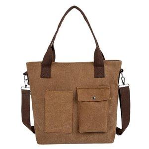 Xiniu mulheres bolsa de lona retro aberto multi-bolso bolsa de ombro senhoras sólido mensageiro saco grande capacidade senhoras compras #s