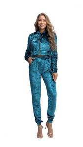 Traje con capucha con cremallera Cardigan Top corto Top High Cintura Pantalones Damas 2 unids Ropa Traje Mujer Velvet Deporte