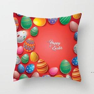 NUEVO 45 * 45 CM Feliz Pascua Caja de almohada Rectangular Caja de huevo Chick Bunny Rabbit Pattern Funda de almohada Sofá Cojín de Coche Cubiertas Regalos DHA3984