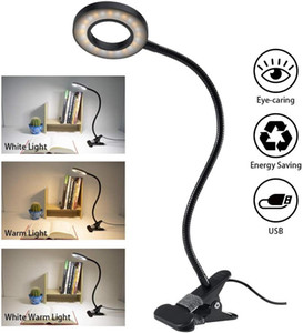 Led Clip on Reading Light USB Powered Lamp with 3 Color Mode & 10 level dimmer Flexible Eye Care Lamp Gooseneck Book Lights