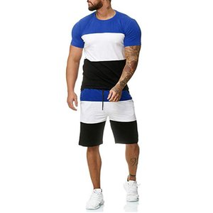 New Men Sets Summer Short sleeve T Shirts+Short Pants 2 Piece Sets Outfit Tracksuit Men's Clothing Sportswear Sets Outfit Hombre Y0305