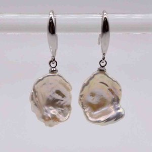 Irregular Pearl White Natural Baroque Pearls, 925 Sterling Sier, Ladies Earrings, FreeShipping