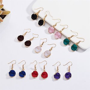 Gold plated Resin Druzy Drusy Round Charms earrings wholesale Women jewelry For girls