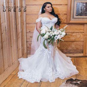 현대 인어 레이스 웨딩 드레스 환상 섹시한 어깨 extionido de noiva 레이스 아플리케 공식 신부 가운 플러스 크기