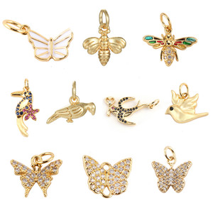 Butterfly Bird Bee Charms for Jewelry Making Supplies Gold Animals Charm Pendant Design Diy Charms for Earrings Necklace Zircon
