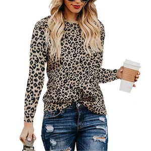 2021 New T-shirt Women Leopard Long Sleeve Top Female Tees O-neck Shirt Spring Autumn T-shirts Fashion Sexy Printing Casual Tops Pullover Vk