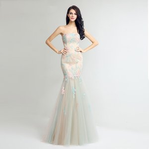 2021 Charming champagne Strapless Evening Gowns Formals Wear Mermaid Long Backless Plus Size Prom Gowns Cheap Bridesmaid Dress