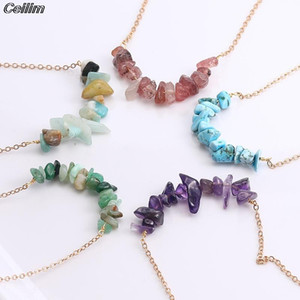 Bohemian Irregular Natural Stone Beads Pendant Necklace Women Fashion Link Chain Choker Necklace Summer Jewelry Green Purple