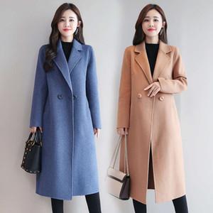 Loose and thin women's mid long autumn   winter 2020 new Korean fashion woolen overcoat women