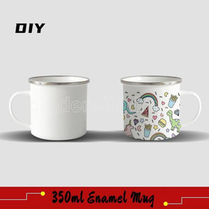Kitchen DIY Sublimation 12oz Enamel Mug with Silver Rim 350ml Stainless Steel Enamelled Cup Handle Blank Tooth Tumblers Water Coffee Bottles