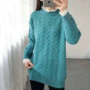Twist women lace fake two medium length bottomed sweater winter new loose large knitted dress