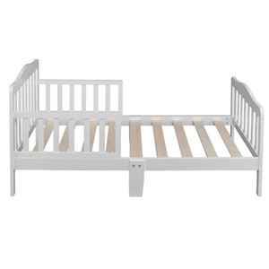 cheap price wholesale New design Wooden Baby Toddler Bed Children Bedroom Furniture with Safety Guardrails White