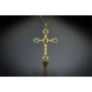 18K Solid Yellow Gold Jewelry(AU750)Women Chain Religion Christian Love And Salvation Emerald Diamond Pendant Necklace Lady Men 0308