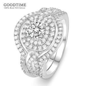Роскошное кольцо набор для женщин чистые 100% 925 стерлингового серебра серебро циркония горный хрусталь 3 шт. Кольца ювелирные изделия аксессуары подарок для девушки