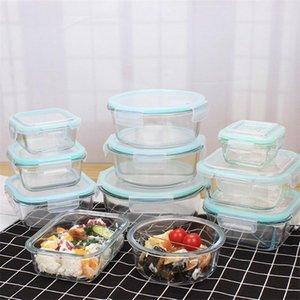 1040 ml cam gıda saklama kabı kapakları ile cam yemek hazırlık kapları hava geçirmez cam öğle yemeği bento kutuları bpa ücretsiz kaçağı geçirmez HWE9380