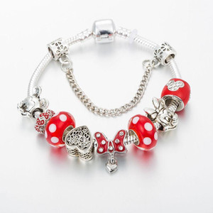 ANNAPAER Brand Heart Charm Bracelet For Women Red Bow-Knot Fit Original Bracelet For Girls DIY Jewelry Gift B190131